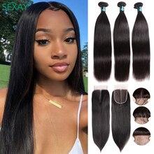 Sexay cabelo liso brasileiro fecho, fecho de cabelo humano com fecho liso 3 pacotes de cabelo com fecho brasileiro
