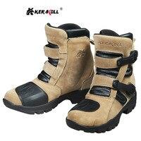 KERAKOLL Motorcycle Long Boots Genuine Cow Leather Non slip Comfort Men Motocross Boots Protection Shoes Botas Moto