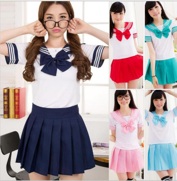 Summer Japanese School Uniforms Anime Cosplay Sailor Suit  Short Sleeve Tops+tie+skirt Navy Style Students Clothes For Girls