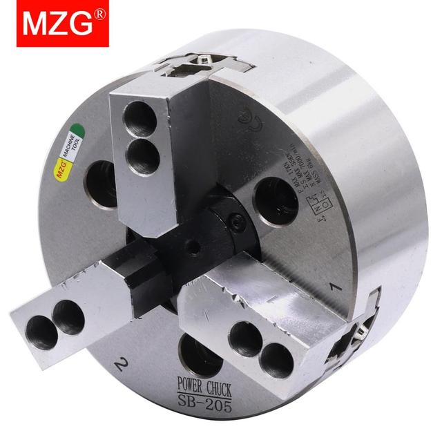 Mzg SB 210 6 8 10 polegada 3 mandíbula oco power chuck para torno cnc ferramenta de corte chato titular buraco usinagem