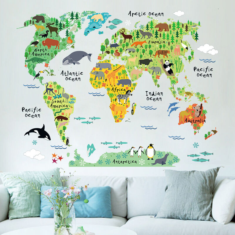 Animal World Map Colorful World Sticker Kids Home Wall Decor DIY Room Art Poster Kids Early Education Supplies 95cm*73cm