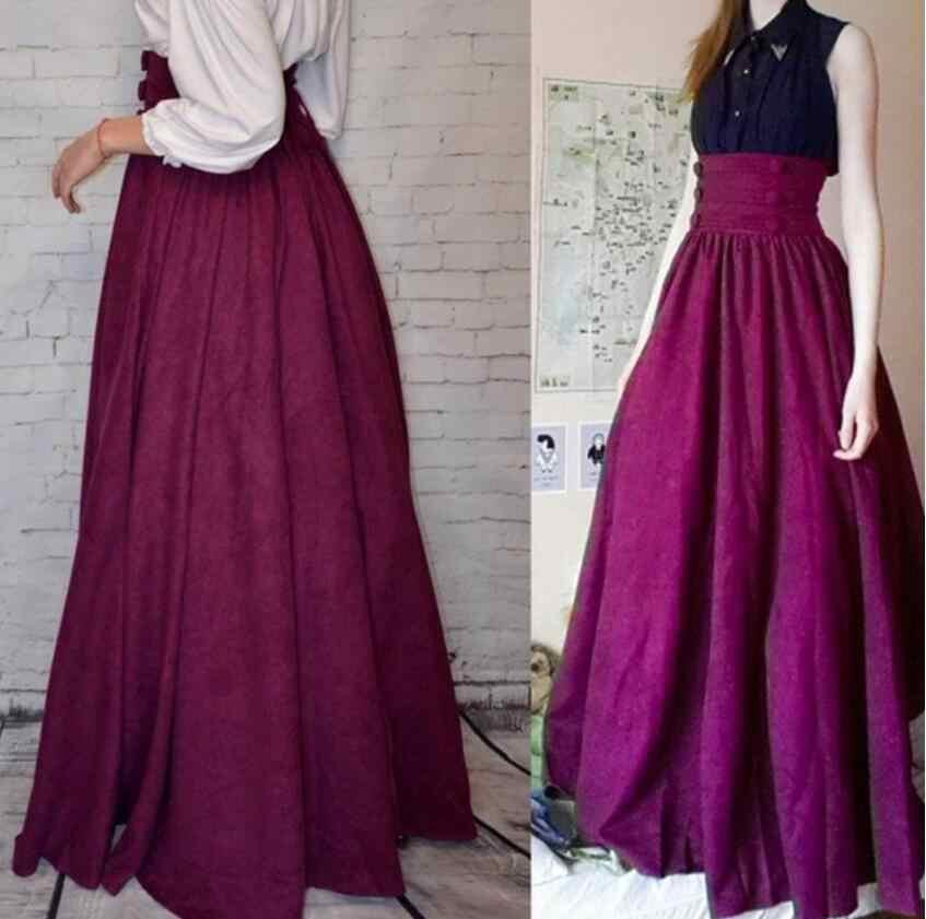אופנה בציר נשים חצאית חדשה הגעה אלגנטית מימי הביניים גילים גבוהה מותניים נדנדה קפלים חצאיות רנסנס ארוך חצאית