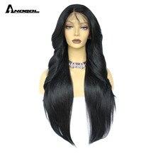 Anogol onda natural longa parte do meio fibra de alta temperatura glueless preto cabelo sintético perucas da parte dianteira do laço para mulher