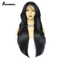 شعر مستعار طويل مموج طبيعي من Anogol باروكة شعر اصطناعي سوداء بدون أصماغ من الألياف عالية الحرارة بالدنتلة الأمامية للنساء
