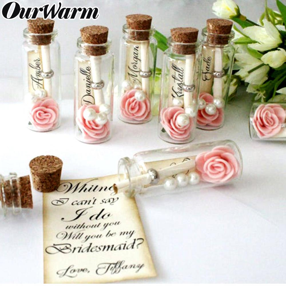 OurWarm 48pcs 25ML Wedding Favor For Guest Glass Wish Bottle With Cork Party Favor Wedding Souvenir Hanging Glass Gift Bottle