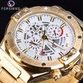 Forsining золотые мужские механические часы автоматические 6 Hands Date военные гоночные спортивные часы из нержавеющей стали ремешок Часы Erkek Kol Saati