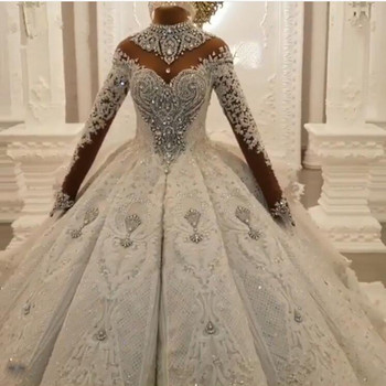 New Luxury Dubai Crystal Rhinestone Wedding Dresses Lace Appliques Full Sleeves Puffy Ball Gowns 3D Flower Bridal Dress 2020 ball gown wedding dresses 2020 sexy backless vintage long sleeves lace appliques flower dubai formal bridal wedding gowns