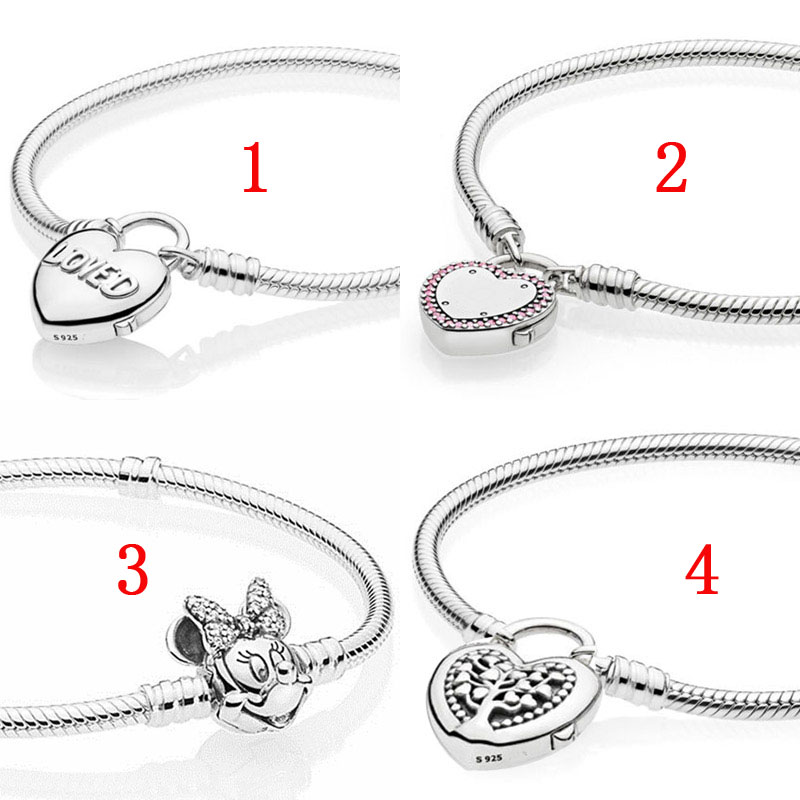 925 Silver European Sterling Love Heart Charms Bead for Bracelet Chains Necklace