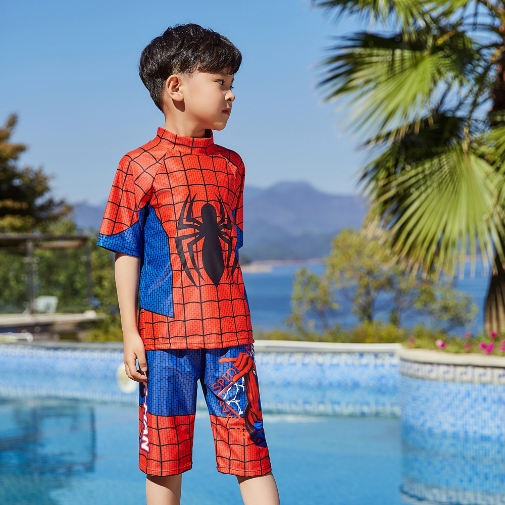 2019 Children Split Type Swimsuit Male Baby Hot Springs Swimsuit For Boys Handsome Cute Spider-Man Olive Flower 1045