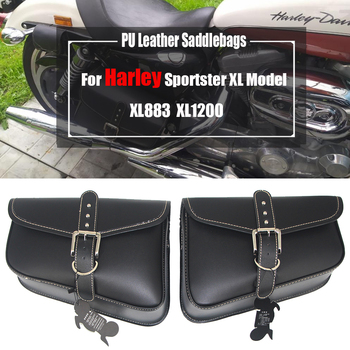 For Harley Sportster XL Model 883 1200 XL883 XL1200 Motorcycle Swingarm bag PU Leather Saddlebags Left and Right Side Tool Bags acz motorcycle leather saddle bags left right for honda yamaha harley xl883 xl1200 softail side tool bag