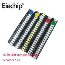 Kit d'assortiment de Diodes LED, 100 pièces/lot, 60MA 0.2W 5730 SMD, blanc jaune rouge vert bleu 2.0 ~ 3.3V, à monter soi-même
