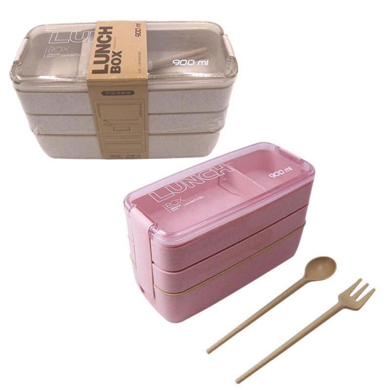 900ml 3 katmanlar Bento yemek kutusu gıda konteyner çevre dostu buğday samanı sağlıklı malzeme mikrodalga yemek öğle yemeği kutusu 2020