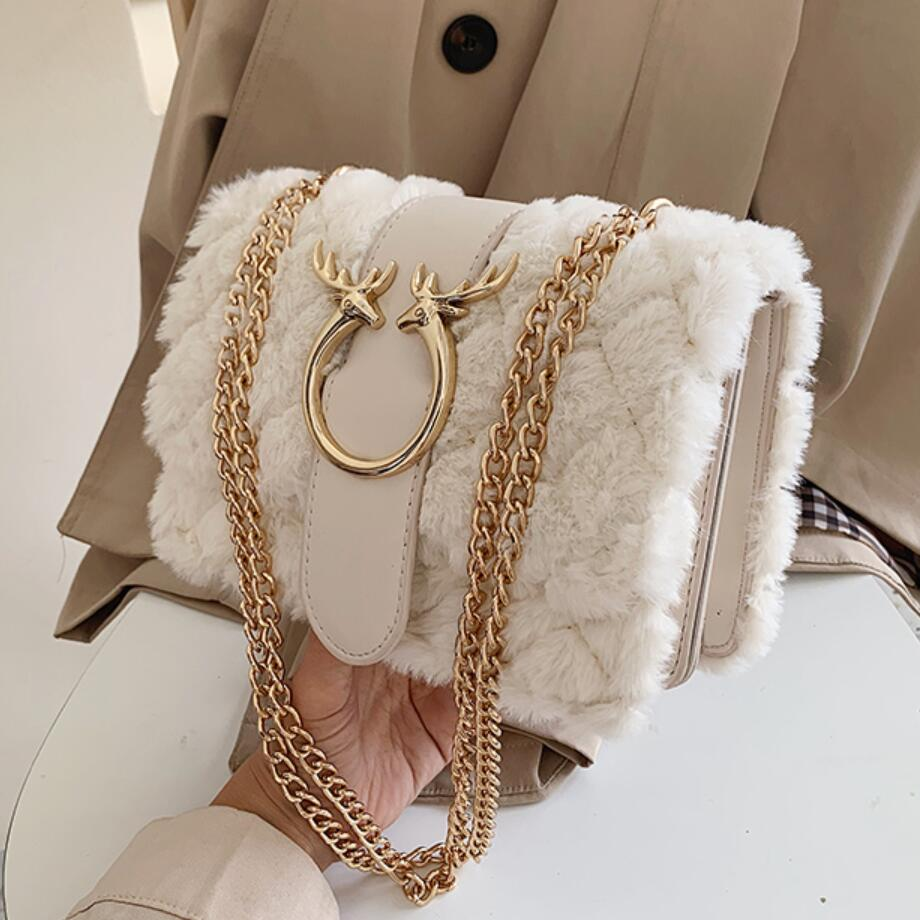 Elegant Female Plaid Square Bag 2019 Winter New Quality Soft Plush Women's Designer Handbag Lock Chain Shoulder Messenger Bags