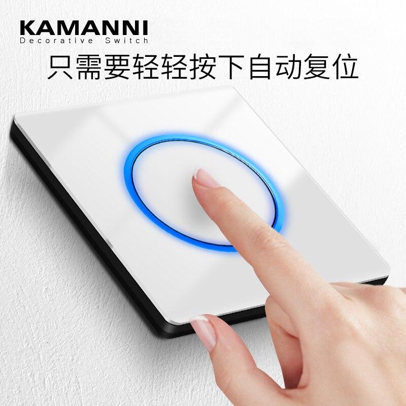 Luxo led luz botão interruptores de vidro painel parede interruptor de luz de alimentação com luz indicadora 1 2 3 4 gang 1 2 way 220v