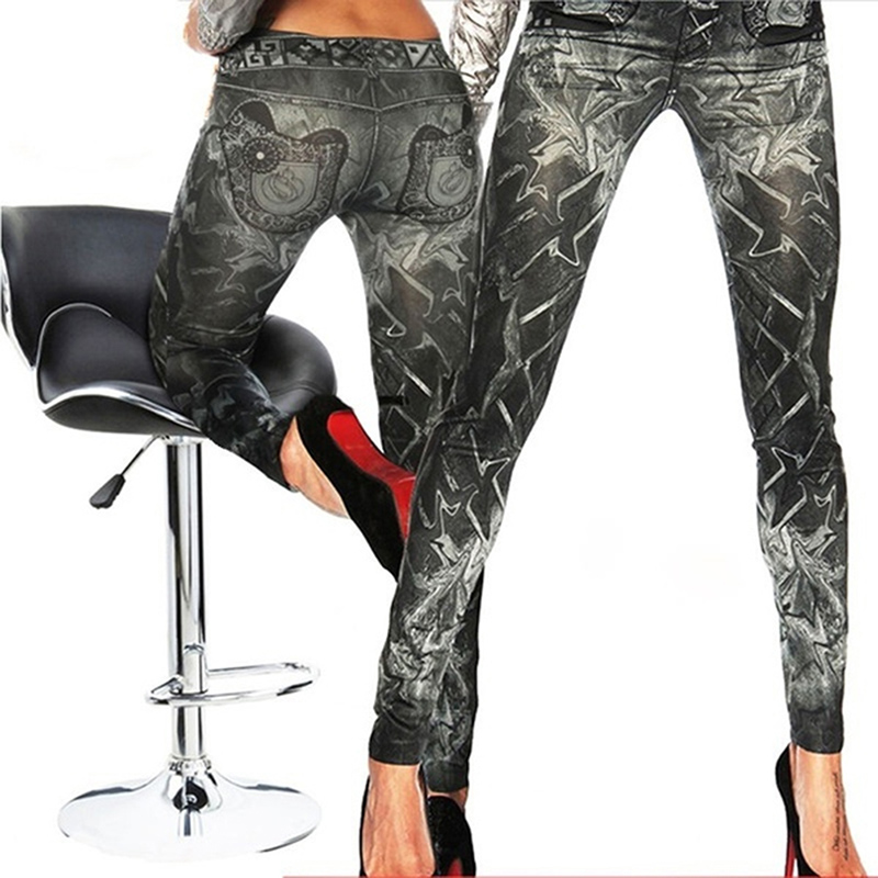 New Slim False Imitation Jeans Fitness Leggins Women Denim Leggings Nine Pants Tattoo Painted Leggings Black One Size