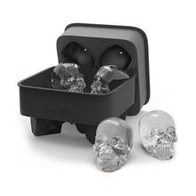 4 Holes Silicone Bones Skull Ice Cube Mold Cake Candy Tray Halloween Gift Ice Cube Maker Skull Shape Chocolate Mould Tray Mold skeleton skull head silicone chocolate muffin cupcake candy ice cube mold halloween