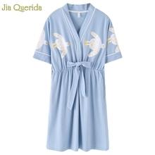 女性の夜のパジャマ 3 プラス大型和風着物スカート綿ショーツ Nighties Stundet 女の子スカイブルーかわいいアヒル印刷
