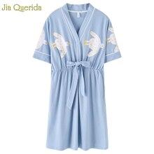 Woman Night Sleepwear 3 Plus Large Japanese Style Kimono Skirt Cotton Shorts Nighties Stundet Girls Sky Blue Cute Duck Printing