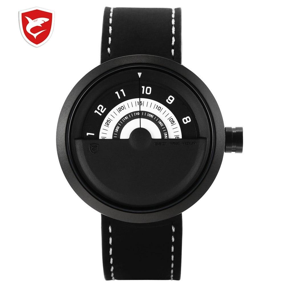 SH423 Bonnethead Shark Sport Watch Yellow Men Relogio Masculino Rotate Contrast Crazy Horse Leather Wrist Creative Watches Clock