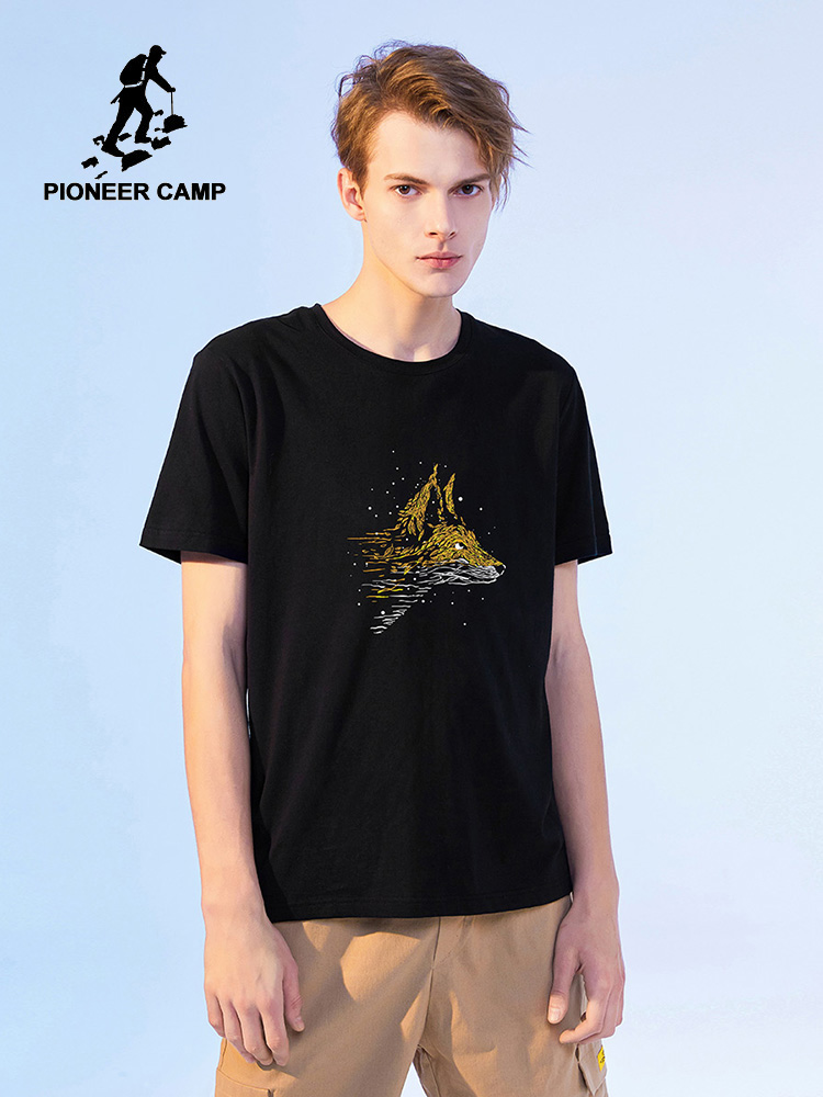 Pioneer Camp 2020 Fashion T-shirts Men Wolf Printed Short Sleeve Streetwear Hip Hop Men's Summer Clothing ADT0206030