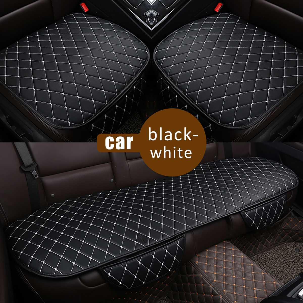 3pcs Universal Leather Car Seat Cover Cushion Front Rear Backseat Chair Seat Protector Mat Pad Car Styling|Automobiles Seat Covers| |  - title=