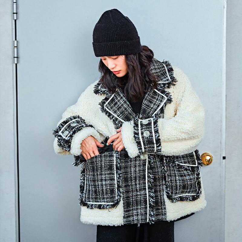 Winter Jacket Women Fashion Plaid Tweed Splice Lambwool Tassel Parka Korean Down cotton Female Warm Loose Cotton-padded Coat