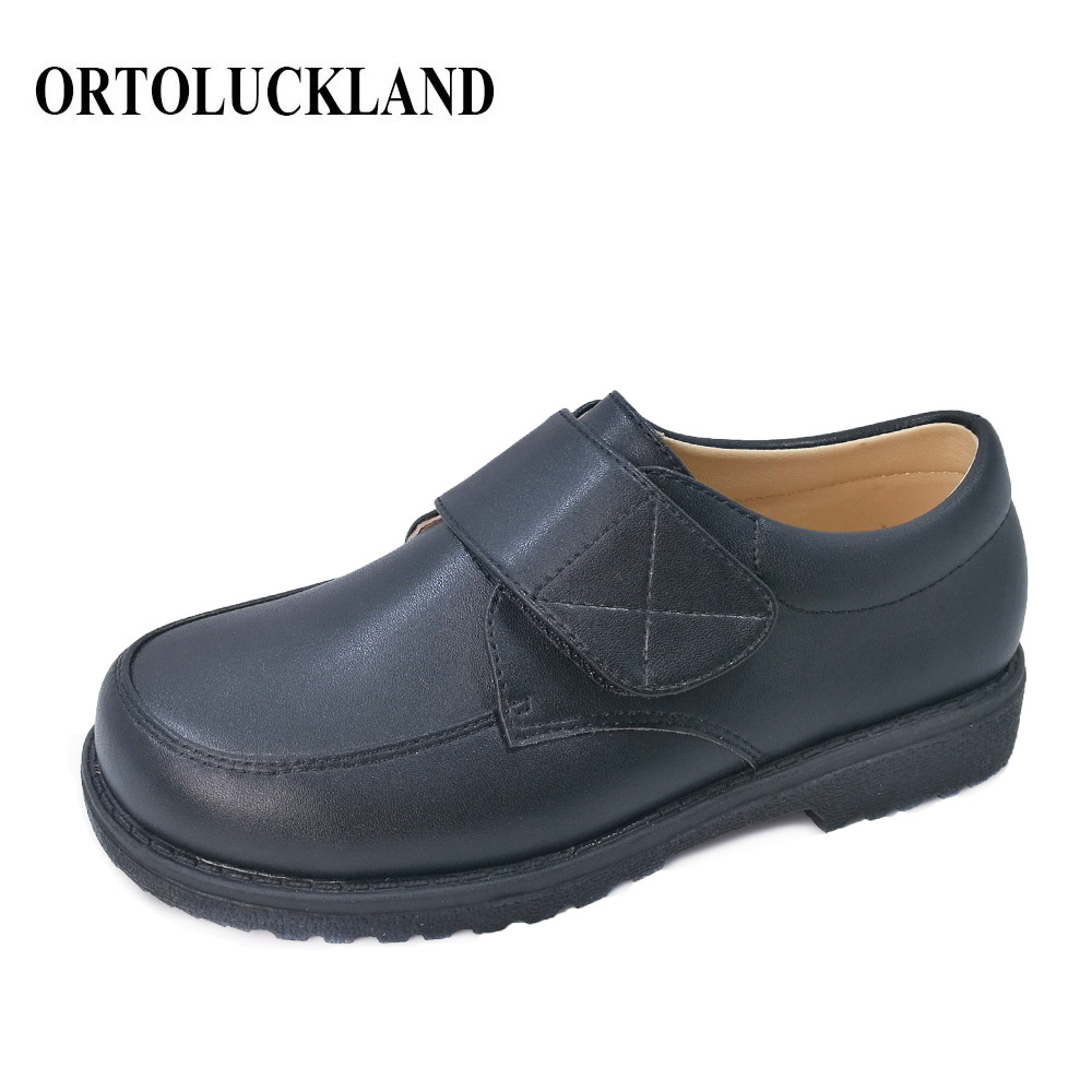Ortoluckland Boys Leather Shoes British Orthotic School Performance Kids Wedding Party Teenager Children Black Moccasins Sandals