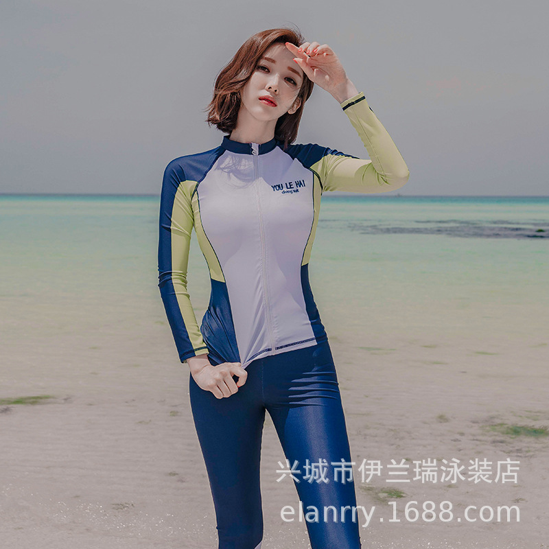 2020 South Korea New Style Bathing Suit Female Sports Split Type Conservative Diving Suit Three-piece Set Swimwear Hot Springs L