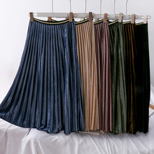 Mooirue Autumn Pleuche Pleated Long Skirts Colorful Loose Casual Streetwear High Waist Vintage Korean Style Bottom Maxi