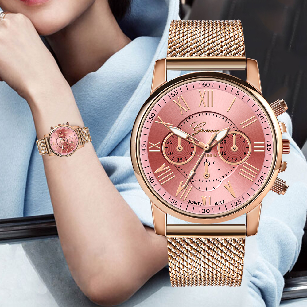 Geneva Women's Fashion Watch Rome Simple Rose Gold Silicone Strap Quartz Watches Casual Business Female Mesh Analog Clock