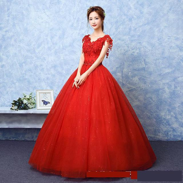 2021 Wedding Dress The Red V-neck Ball Gown Vintage Wedding Dresses Lace Embroidery Vestido De Noiva F 3