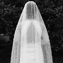 Lange 3M Parels Wedding Veil Een Layer Ivoor Bruidssluier met Parel Nieuwe Bruid Sluier met Kam Bruiloft Accessoires