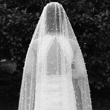 Lungo 3M Perle Velo Da Sposa Uno Strato Avorio Velo Da Sposa con la Perla Nuova Sposa Velo con il Pettine Accessori Da Sposa