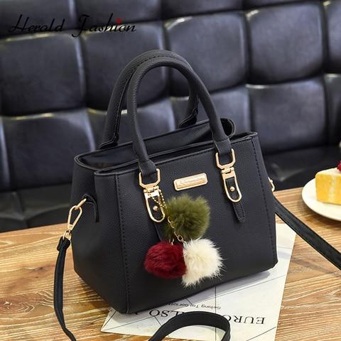 Bolsa com Bola de Cabelo Bolsa de Ombro Bolsa de Mensageiro das Senhoras Moda Superior-alça Mulheres Hanbag Qualidade Couro Feminino Casual