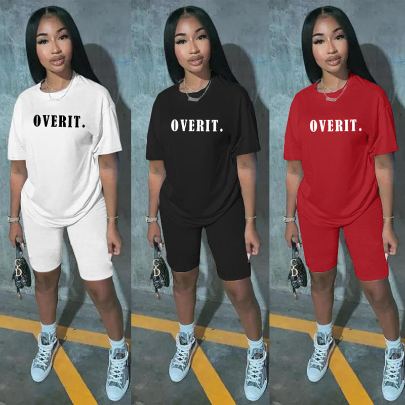 Wjustforu Summer Casual Fashion Solid Color Letter Printing Two Piece Set For Women Short Sleeve T-Shirt + Shorts Tracksuit