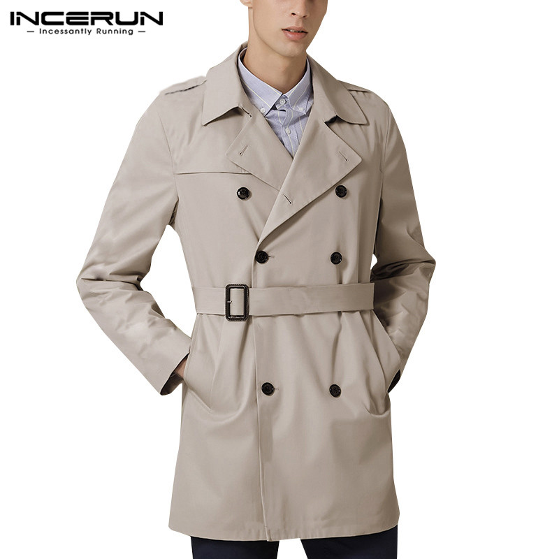 INCERUN Double Breasted Men Overcoats Long Sleeve Solid Trench England Casual Wild Belted Lapel Vintage Pockets Mens Windbreaker