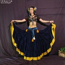 Племенные юбки для танца живота АТС производительность хлопок юбка в стиле фламенко хлопок длинный полный круговая юбка Цыганский танец CWW04