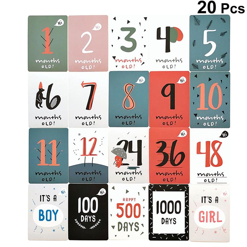 20pcs Of One Set Creative Milestone Sticker Birth Month Number Birthday Card Paste Monthly Paste Decor For Baby Inafnt Newborn