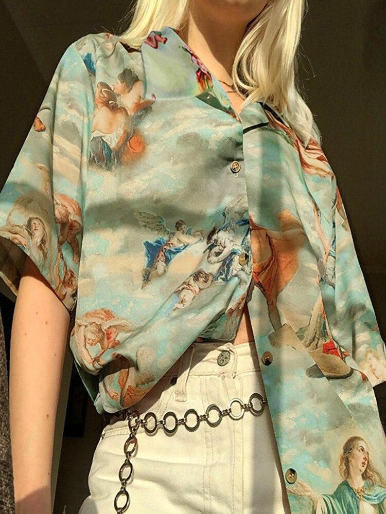 Graphic Tee Shirt Femme Harajuku Angel Summer Clothing Ladies Top Streetwear Women Roupas