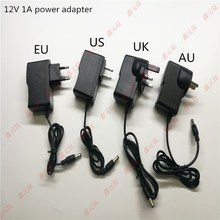 12V 1A LED power adapter 12W Transformers UK US EU AU Black plastic case power supply AC/DC110-240V To 12V ADAPTOR