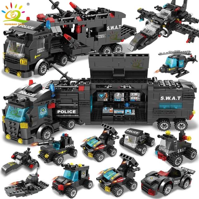 HUIQIBAO SWAT polis İstasyonu kamyon modeli yapı taşları şehir makinesi helikopter araba rakamlar tuğla eğitici oyuncak çocuklar için