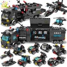HUIQIBAO SWAT 경찰서 트럭 모델 빌딩 블록 도시 기계 헬리콥터 자동차 피규어 아이들을위한 벽돌 교육 장난감