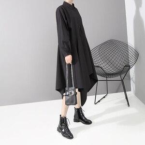 Image 4 - New 2019 Women Long Sleeve Autumn Fashion Shirt Dress Solid Black Asymmetrical Ladies Stylish Casual Dresses Robe Femme 5510