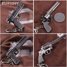 EUPNHY 1Pcs Funny Miniature Revolver Pistol Weapon Gun Keychain Keyrings Vintage Mini Gun Pendant Keychain Kerings Holder(China)
