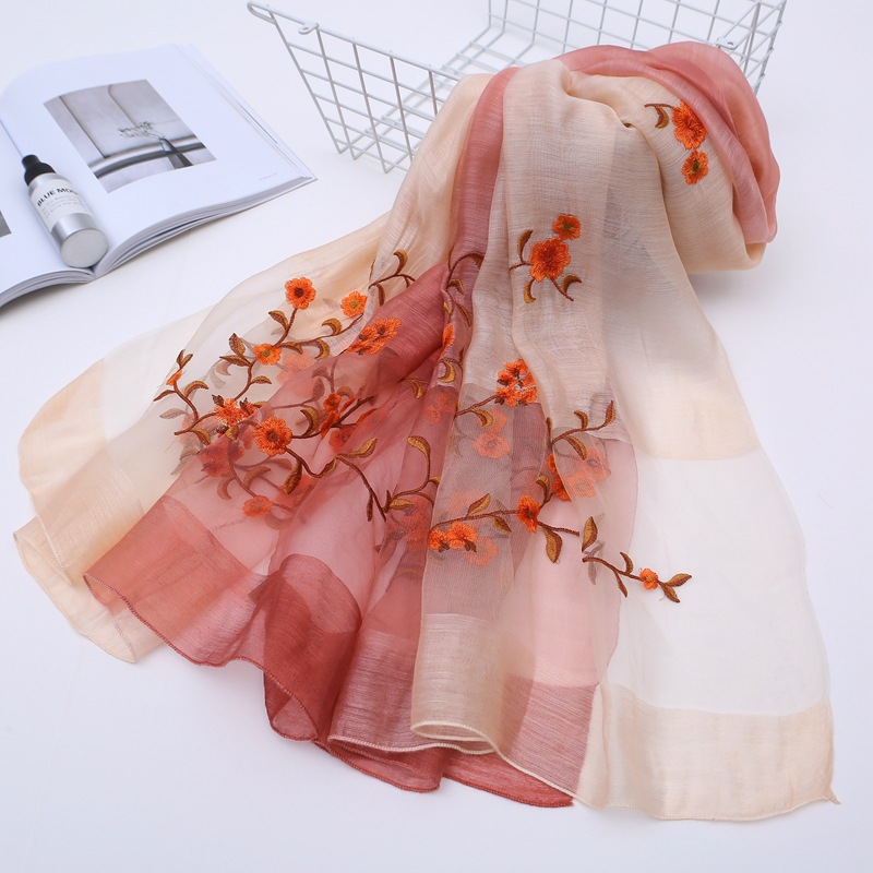 Women Scarf Summer Silk Scarves Shawls Gray Lady Wraps Soft Pashimina Female Echarpe Designer