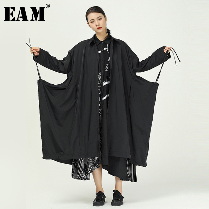 [EAM] Women Black Drawstring Big Size Long Trench New Lapel Long Sleeve Loose Fit Windbreaker Fashion Tide Spring 2020 1R851