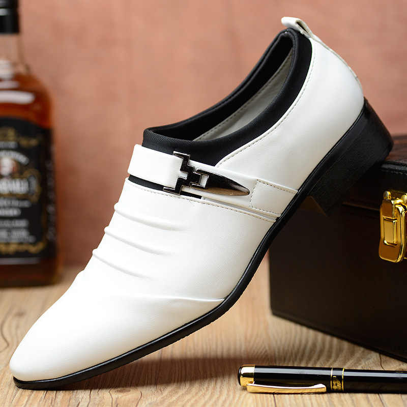 New Men's Fashion British Style Pointed Toe Wedding Business Leather Formal Dress Shoes Summer Flats Shoes Oxfords Men fgh6