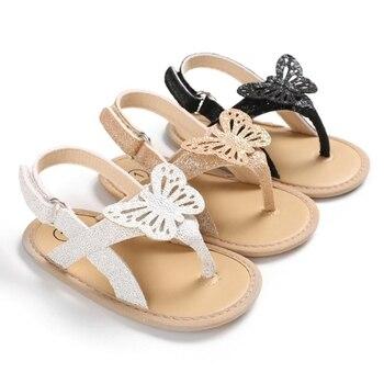 Children Summer Shoes Newborn Infant Baby Girl PU Bow-knot Sandals Infants Anti-slip Sneaker Striped Bow Prewalker 0-18M