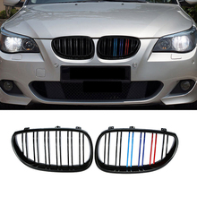 A Pair Car Kidney Grill Racing Double Line Grille For BMW 5 Series E60 E61 2003-2010 Car Tuning Front Grills Accessories 1pair gloss car front sport grill kidney black grilles front hood kidney grille for bmw 5 series m5 e39 e60 e61 2003 2009