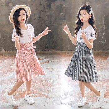 Dress For Girls Plaid Pattern Girls Summer Dresses 4 5 6 7 8 9 10 11 12 Years Kids Dress Casual Girls Clothes Princess Dress